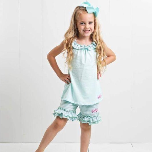 Ruffle Girl Other - Ruffle Girl Aqua/Light Blue Ruffle Neck Short Set